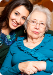 elderly senior woman with her caregiver